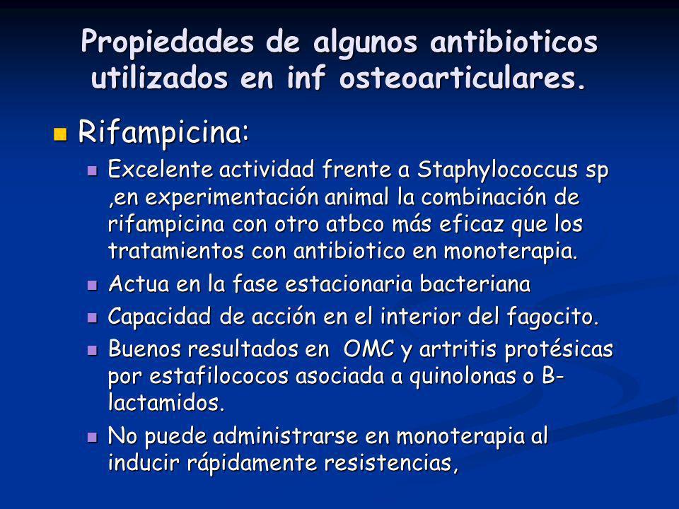 Propiedades de algunos antibioticos utilizados en inf osteoarticulares. Rifampicina: Rifampicina: Excelente actividad frente a Staphylococcus sp,en ex