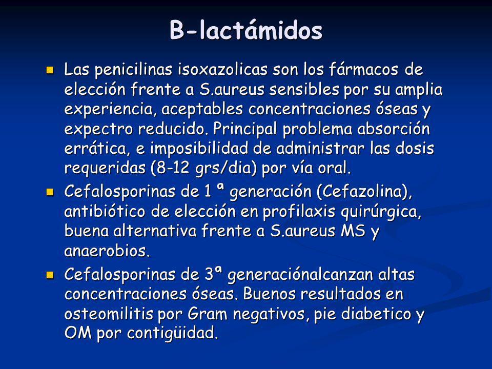 B-lactámidos Las penicilinas isoxazolicas son los fármacos de elección frente a S.aureus sensibles por su amplia experiencia, aceptables concentracion