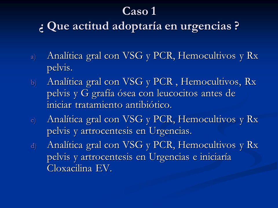 Caso 1 ¿ Que actitud adoptaría en urgencias ? a) Analítica gral con VSG y PCR, Hemocultivos y Rx pelvis. b) Analítica gral con VSG y PCR, Hemocultivos