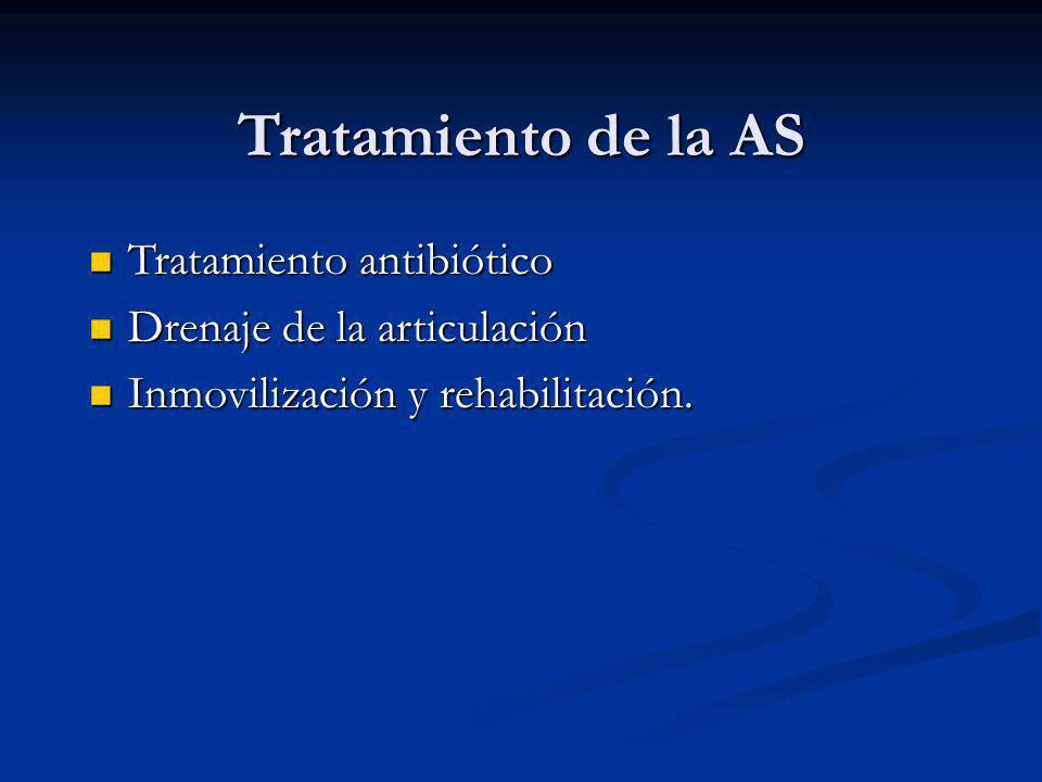 Tratamiento de la AS Tratamiento antibiótico Tratamiento antibiótico Drenaje de la articulación Drenaje de la articulación Inmovilización y rehabilita