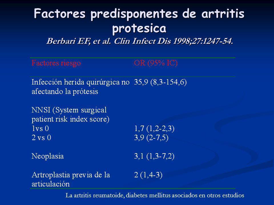 Factores predisponentes de artritis protesica Berbari EF, et al. Clin Infect Dis 1998;27:1247-54. La artritis reumatoide, diabetes mellitus asociados