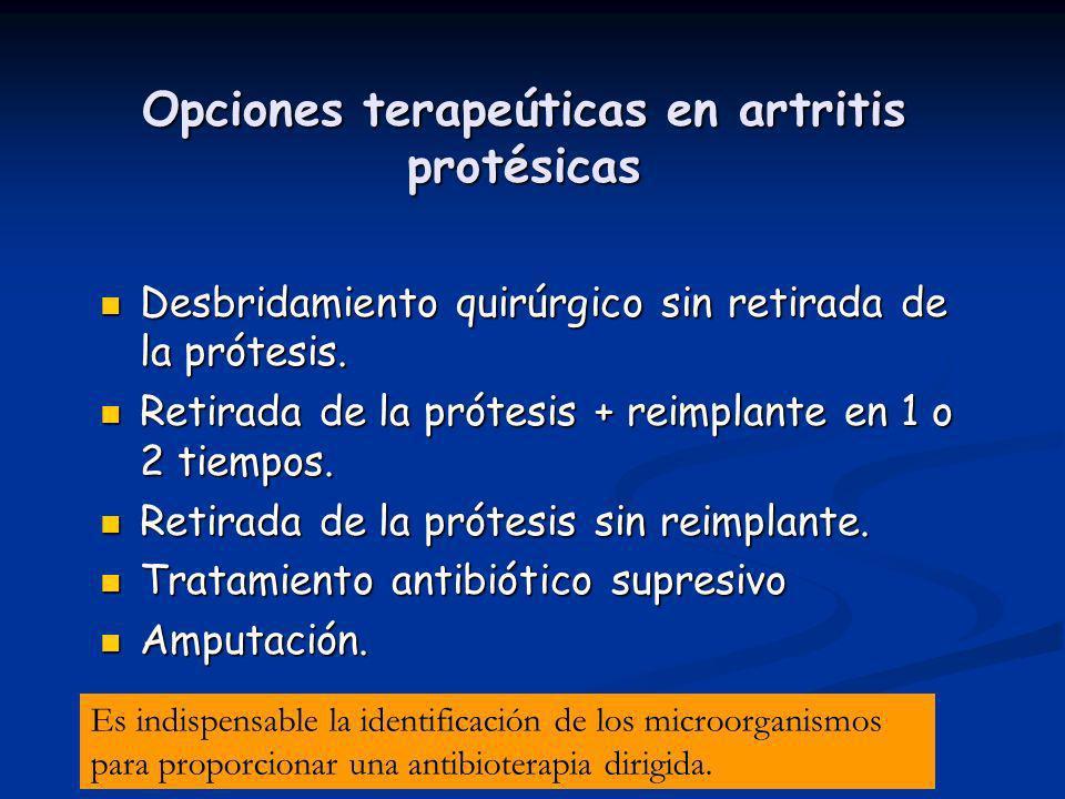 Opciones terapeúticas en artritis protésicas Desbridamiento quirúrgico sin retirada de la prótesis. Desbridamiento quirúrgico sin retirada de la próte