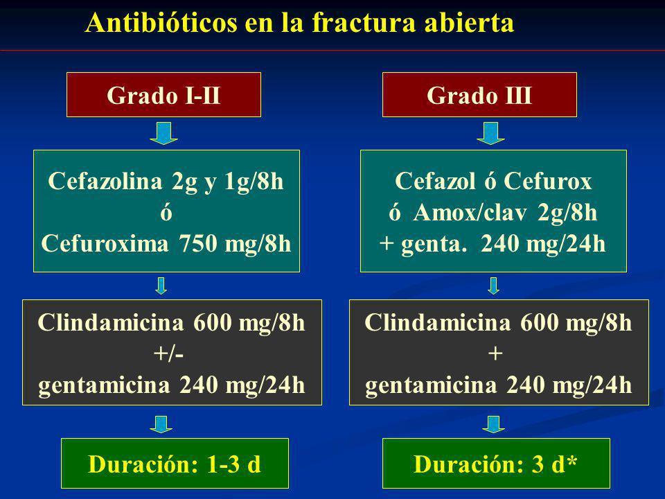 Antibióticos en la fractura abierta Grado I-IIGrado III Cefazolina 2g y 1g/8h ó Cefuroxima 750 mg/8h Clindamicina 600 mg/8h +/- gentamicina 240 mg/24h