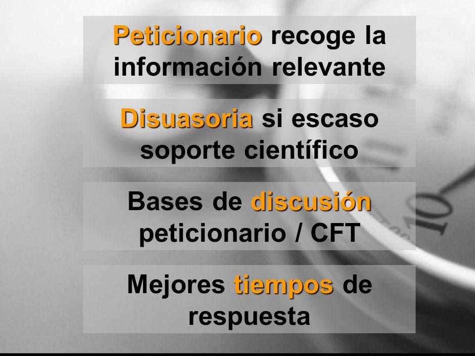 tiempos Mejores tiempos de respuesta Peticionario Peticionario recoge la información relevante discusión Bases de discusión peticionario / CFT Disuaso
