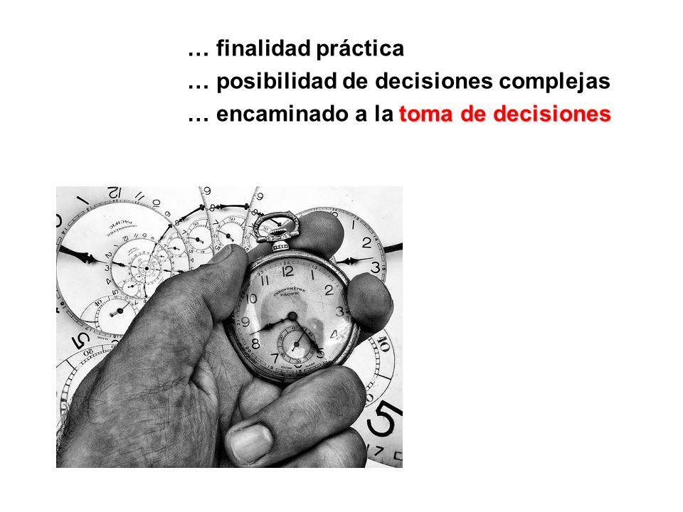 … finalidad práctica … posibilidad de decisiones complejas toma de decisiones … encaminado a la toma de decisiones