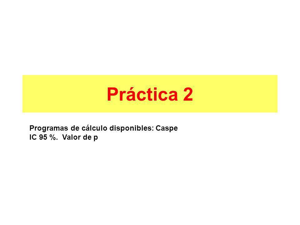 Práctica 2 Programas de cálculo disponibles: Caspe IC 95 %. Valor de p