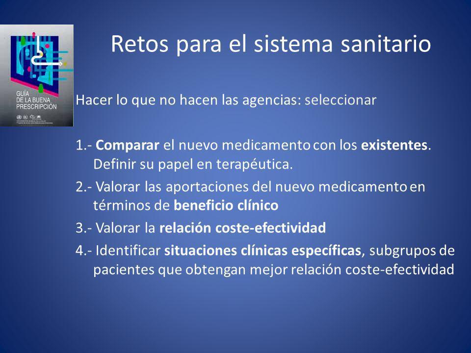 Retos para el sistema sanitario Hacer lo que no hacen las agencias: seleccionar 1.- Comparar el nuevo medicamento con los existentes. Definir su papel