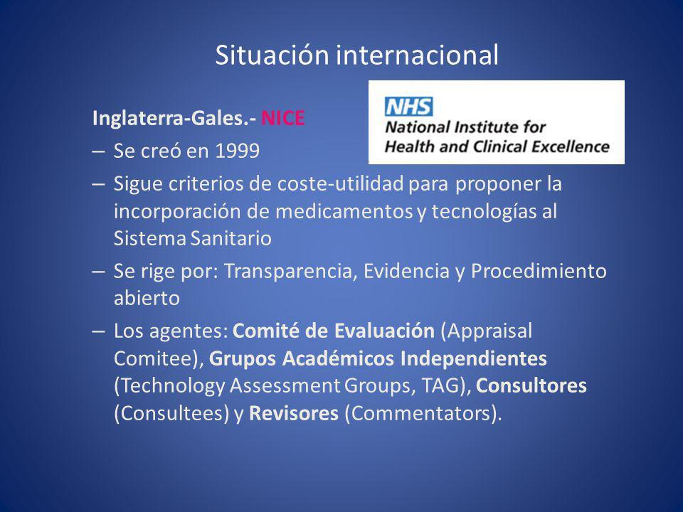 Situación internacional Inglaterra-Gales.- NICE – Se creó en 1999 – Sigue criterios de coste-utilidad para proponer la incorporación de medicamentos y