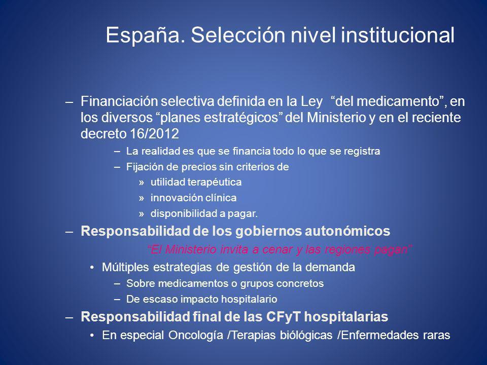 España. Selección nivel institucional –Financiación selectiva definida en la Ley del medicamento, en los diversos planes estratégicos del Ministerio y