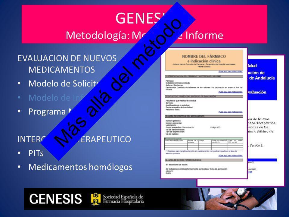 GENESIS Metodología: Modelo de Informe EVALUACION DE NUEVOS MEDICAMENTOS Modelo de Solicitud Modelo de Informe Programa MADRE INTERCAMBIO TERAPEUTICO