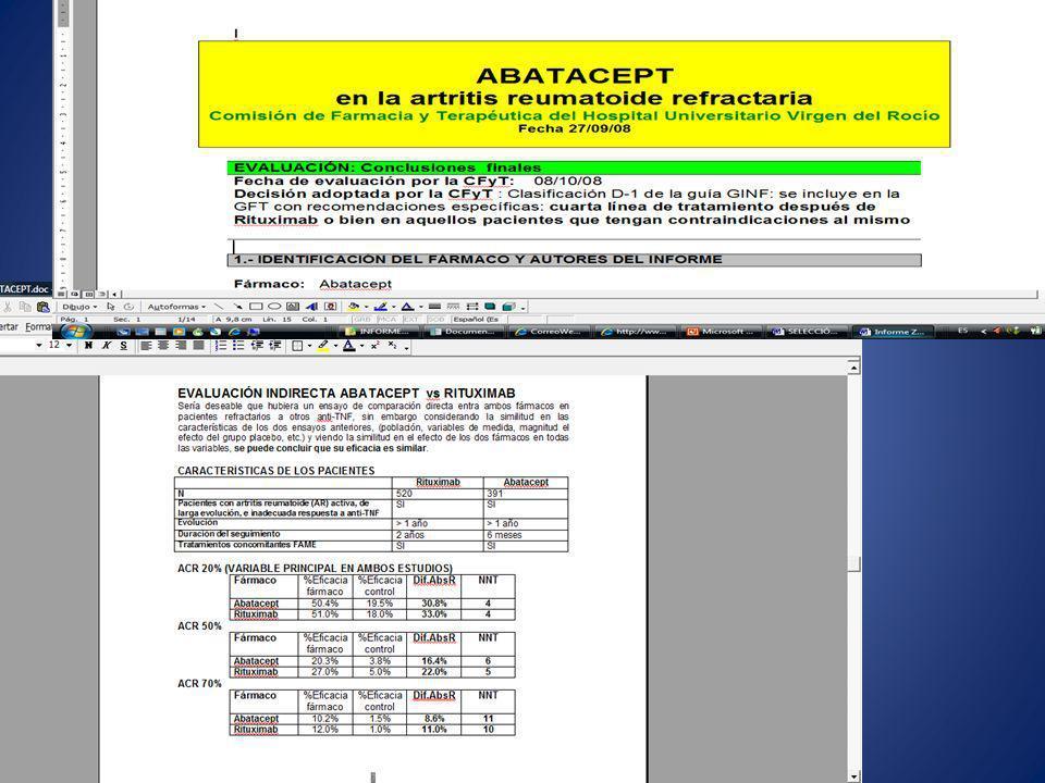Sistemas de VALIDACIÓN DE LA PRESCRIPCIÓN que incorporen LA ADECUACUÓN DEL PACIENTE A las condiciones de uso Inicio Quimioterapia actual o finalizada hace menos de 1 mes Hemoglobina < 10.5 mg/dL Seguimiento - Si tras 4 semanas de tto con 150 UI/Kg 3vs el valor de Hb aumenta < 1 mg/dL, aumentar la dosis a 300 UI/Kg 3vs - Si tras 4 semanas de tto con 300 UI/Kg 3vs el valor de Hb aumenta < 1 mg/dL, SUSPENDER - El valor de Hb no debe superar los 12 mg/dL