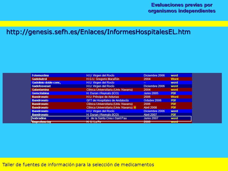 Taller de fuentes de información para la selección de medicamentos Evaluaciones previas por organismos independientes http://genesis.sefh.es/Enlaces/I