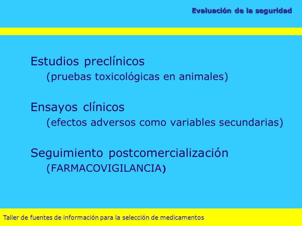 Taller de fuentes de información para la selección de medicamentos Evaluación de la seguridad Estudios preclínicos (pruebas toxicológicas en animales)