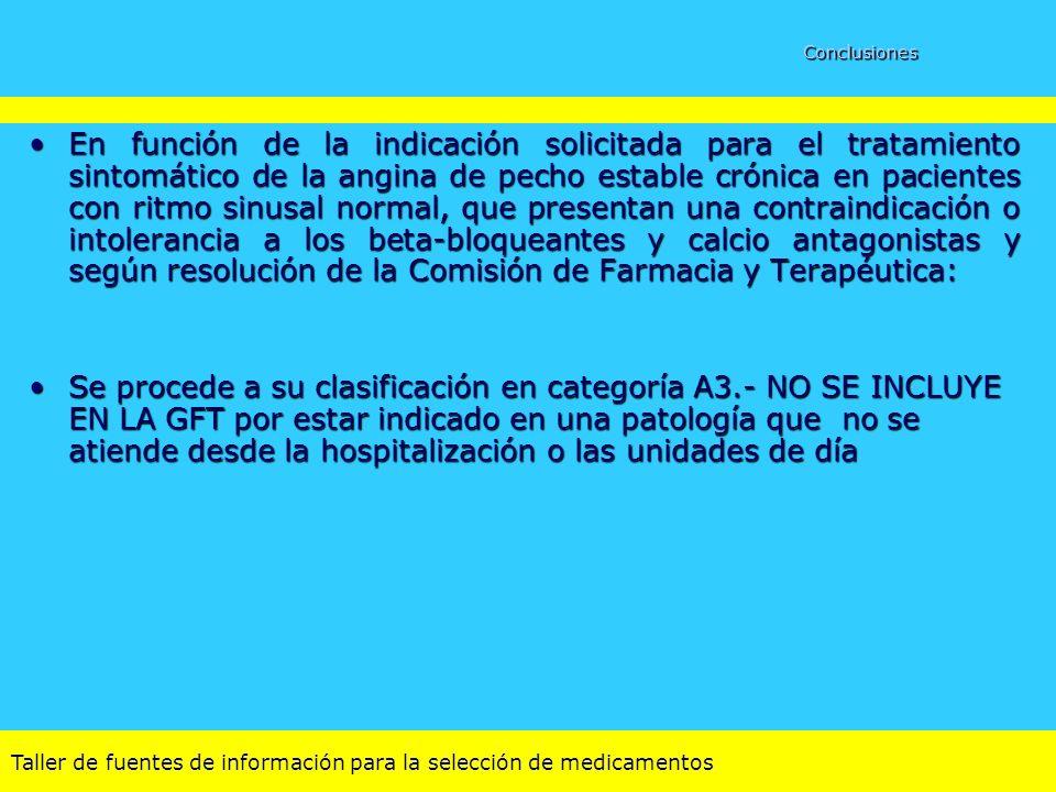 Taller de fuentes de información para la selección de medicamentos Conclusiones En función de la indicación solicitada para el tratamiento sintomático