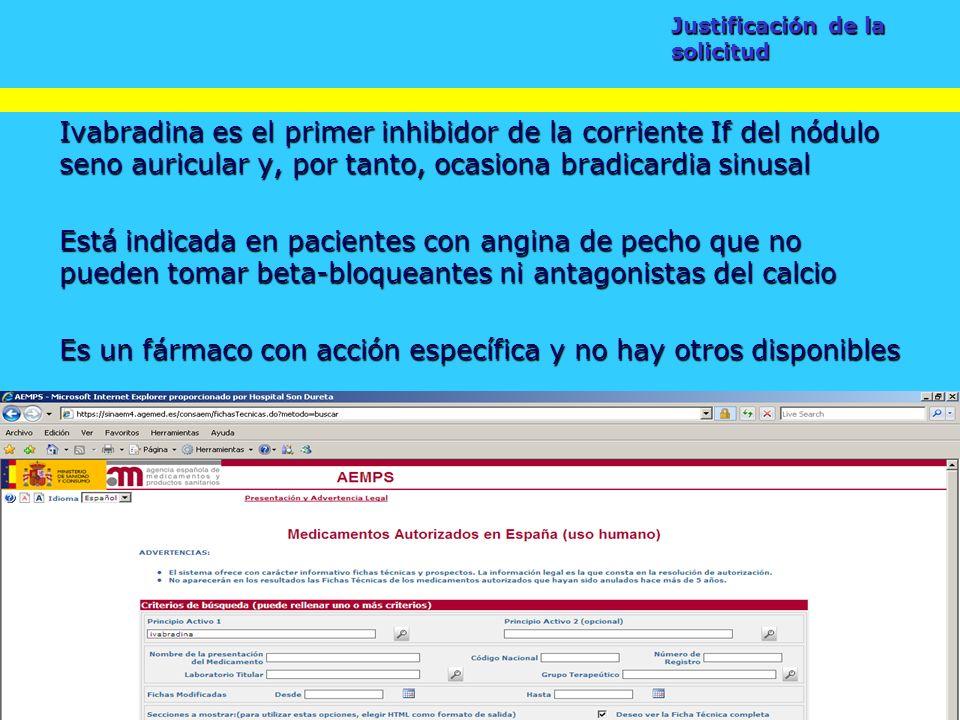 Taller de fuentes de información para la selección de medicamentos Ivabradina es el primer inhibidor de la corriente If del nódulo seno auricular y, p