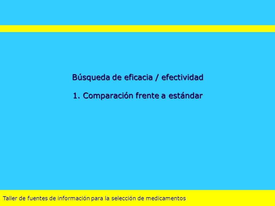 Búsqueda de eficacia / efectividad 1. Comparación frente a estándar