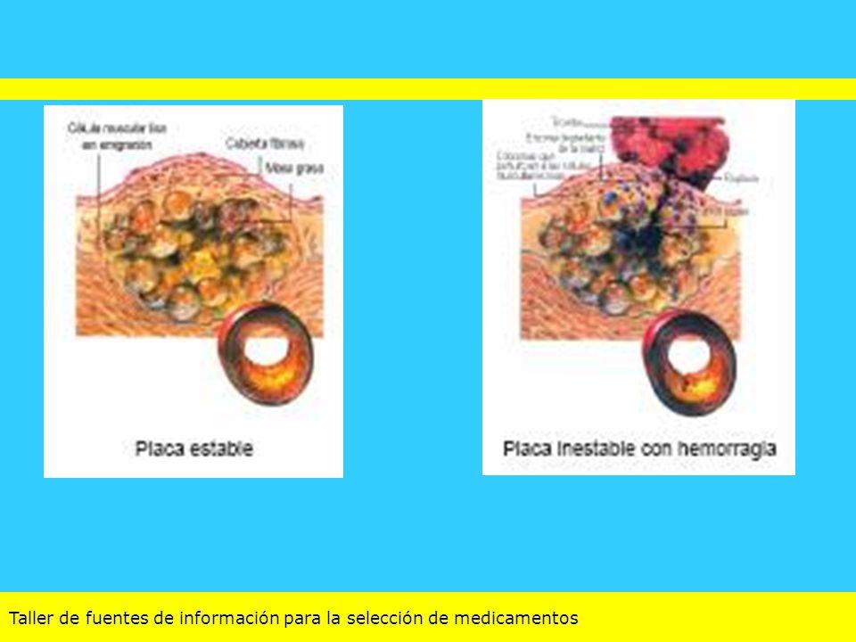 Taller de fuentes de información para la selección de medicamentos Sociedad Europea de Cardiología (ESC): http: //www.sac.org.ar/ Ivabradina nuevo agente alternativo en pacientes que no toleran los beta-bloqueantes (indicación de la EMEA) No aparece en ninguna de las recomendaciones para mejorar los síntomas o reducir la isquemia en pacientes con angina estable, ni siquiera en tercera línea.