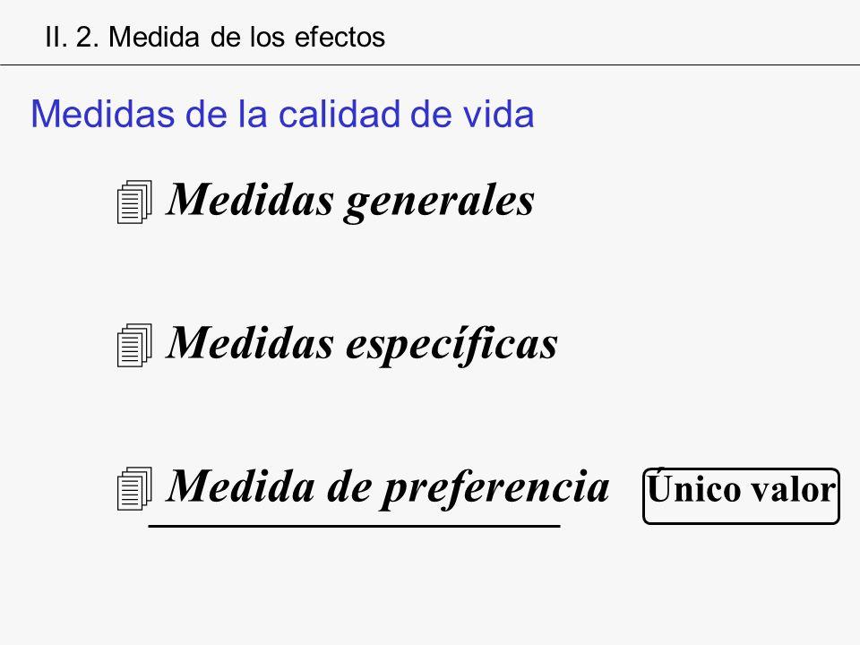 4Medidas generales 4Medidas específicas 4Medida de preferencia Único valor Medidas de la calidad de vida II. 2. Medida de los efectos