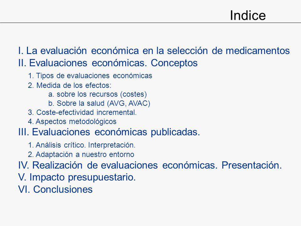 I. La evaluación económica en la selección de medicamentos II. Evaluaciones económicas. Conceptos 1. Tipos de evaluaciones económicas 2. Medida de los