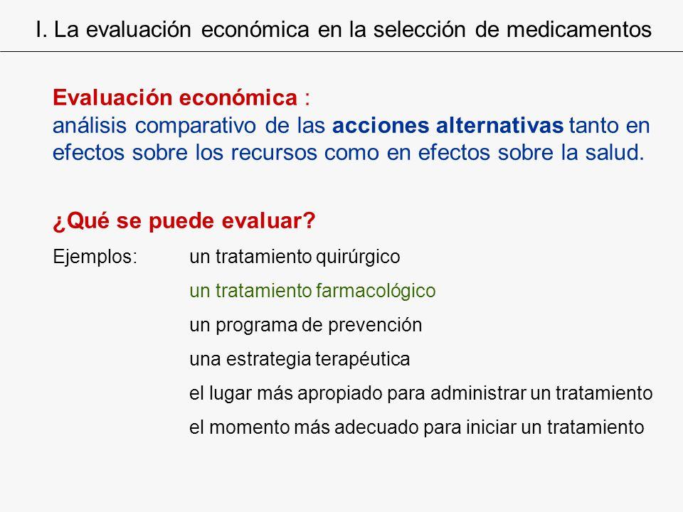 Evaluación económica : análisis comparativo de las acciones alternativas tanto en efectos sobre los recursos como en efectos sobre la salud. ¿Qué se p