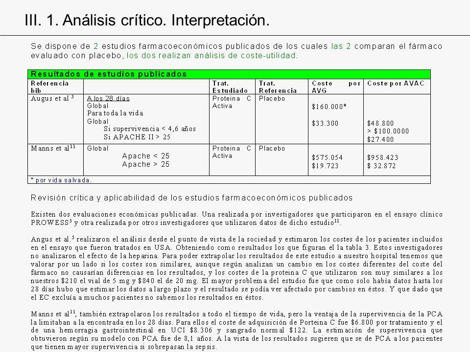 III. 1. Análisis crítico. Interpretación.
