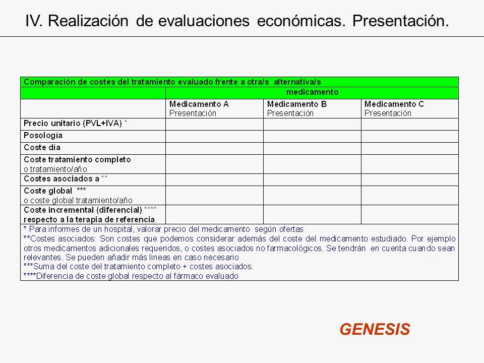 IV. Realización de evaluaciones económicas. Presentación. GENESIS