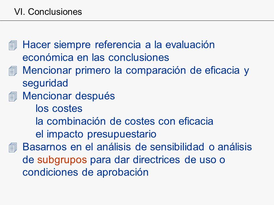 4Hacer siempre referencia a la evaluación económica en las conclusiones 4Mencionar primero la comparación de eficacia y seguridad 4Mencionar después l