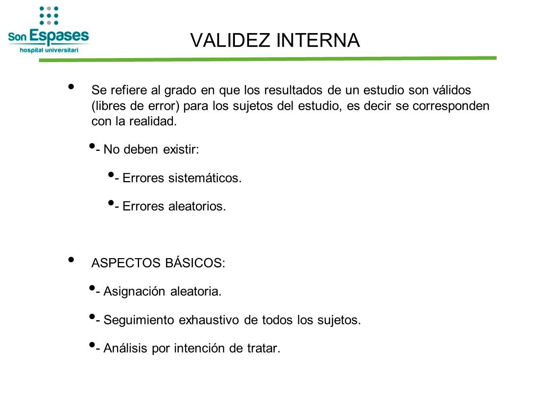 VALIDEZ INTERNA Se refiere al grado en que los resultados de un estudio son válidos (libres de error) para los sujetos del estudio, es decir se corres