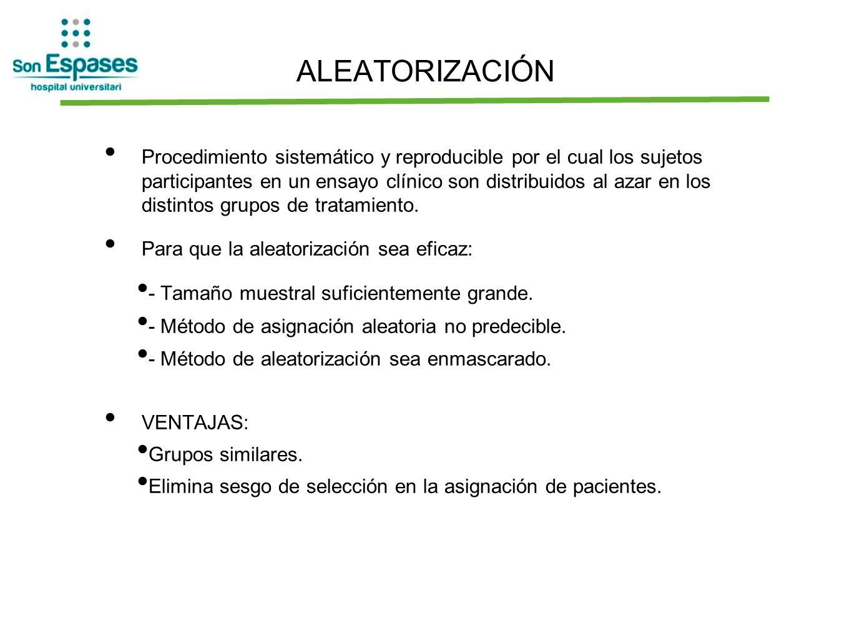ALEATORIZACIÓN Procedimiento sistemático y reproducible por el cual los sujetos participantes en un ensayo clínico son distribuidos al azar en los dis