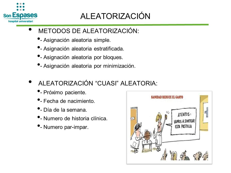 ALEATORIZACIÓN METODOS DE ALEATORIZACIÓN: - Asignación aleatoria simple. - Asignación aleatoria estratificada. - Asignación aleatoria por bloques. - A