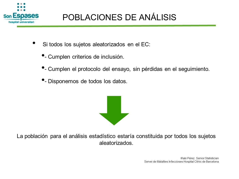 POBLACIONES DE ANÁLISIS Si todos los sujetos aleatorizados en el EC: - Cumplen criterios de inclusión. - Cumplen el protocolo del ensayo, sin pérdidas