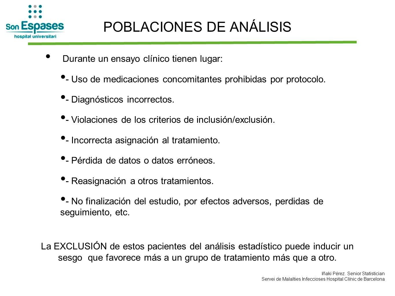 POBLACIONES DE ANÁLISIS Durante un ensayo clínico tienen lugar: - Uso de medicaciones concomitantes prohibidas por protocolo. - Diagnósticos incorrect