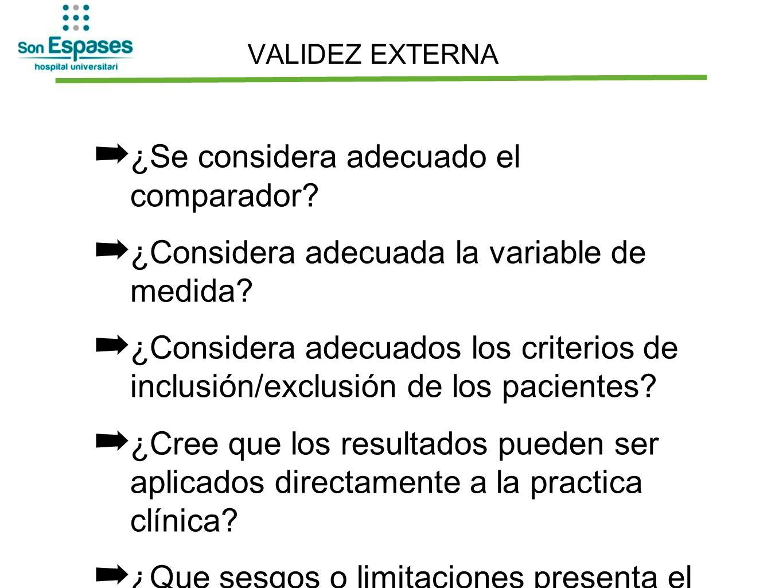 VALIDEZ EXTERNA ¿Se considera adecuado el comparador? ¿Considera adecuada la variable de medida? ¿Considera adecuados los criterios de inclusión/exclu