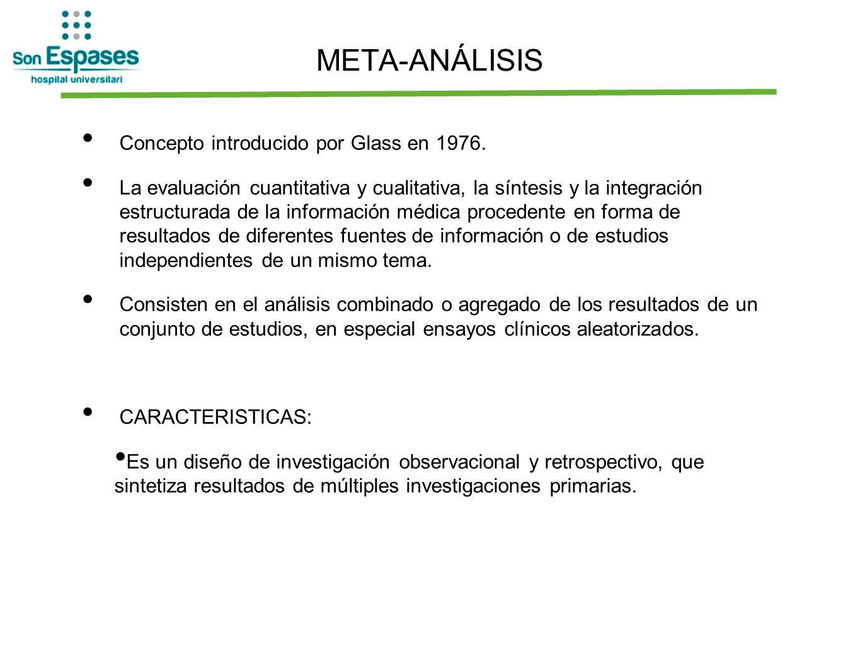 Concepto introducido por Glass en 1976. La evaluación cuantitativa y cualitativa, la síntesis y la integración estructurada de la información médica p