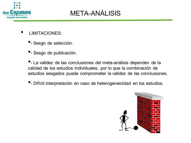 META-ANÁLISIS LIMITACIONES: - Sesgo de selección. - Sesgo de publicación. - La validez de las conclusiones del meta-análisis dependen de la calidad de