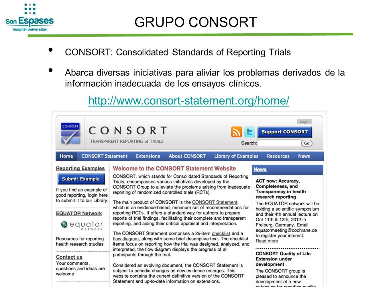 GRUPO CONSORT CONSORT: Consolidated Standards of Reporting Trials Abarca diversas iniciativas para aliviar los problemas derivados de la información i