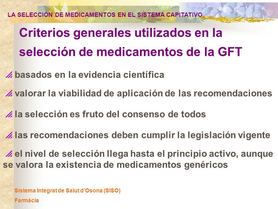 Sistema Integrat de Salut dOsona (SISO) Farmàcia basados en la evidencia científica valorar la viabilidad de aplicación de las recomendaciones las rec