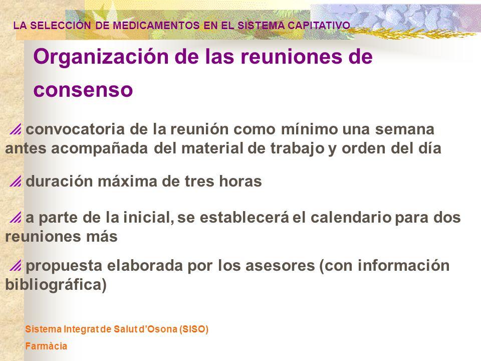 Sistema Integrat de Salut dOsona (SISO) Farmàcia convocatoria de la reunión como mínimo una semana antes acompañada del material de trabajo y orden de