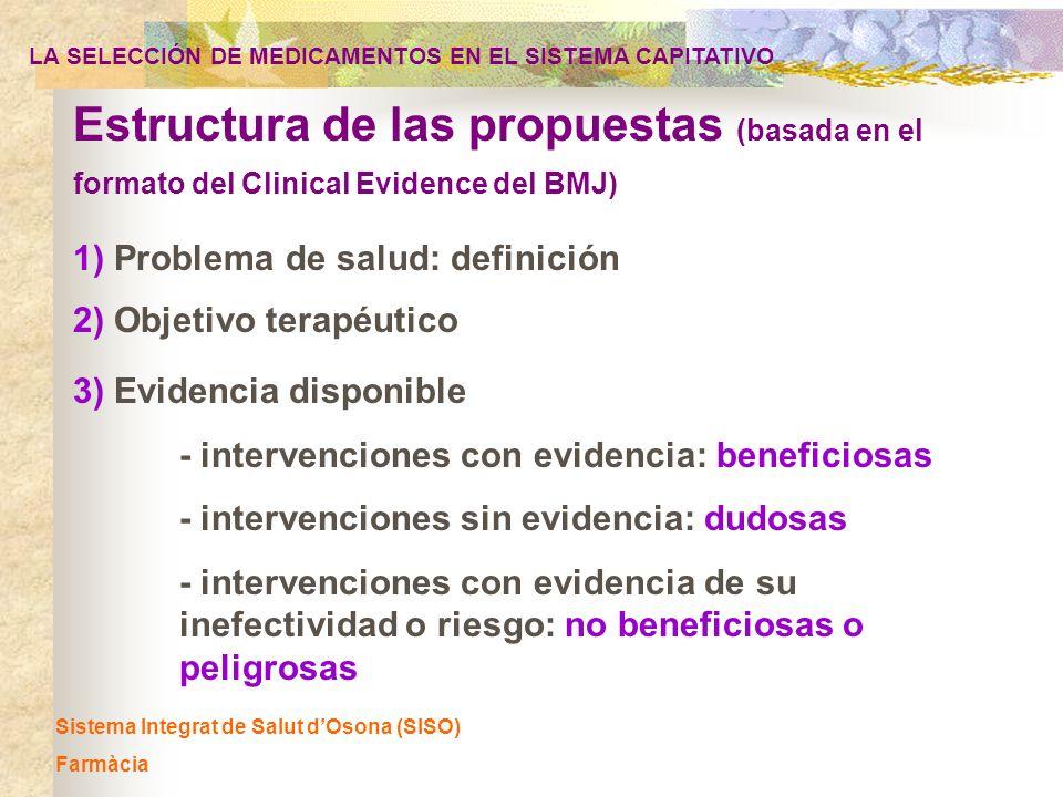 Sistema Integrat de Salut dOsona (SISO) Farmàcia 1) Problema de salud: definición Estructura de las propuestas (basada en el formato del Clinical Evid