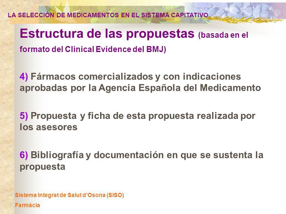 Sistema Integrat de Salut dOsona (SISO) Farmàcia 4) Fármacos comercializados y con indicaciones aprobadas por la Agencia Española del Medicamento Estr