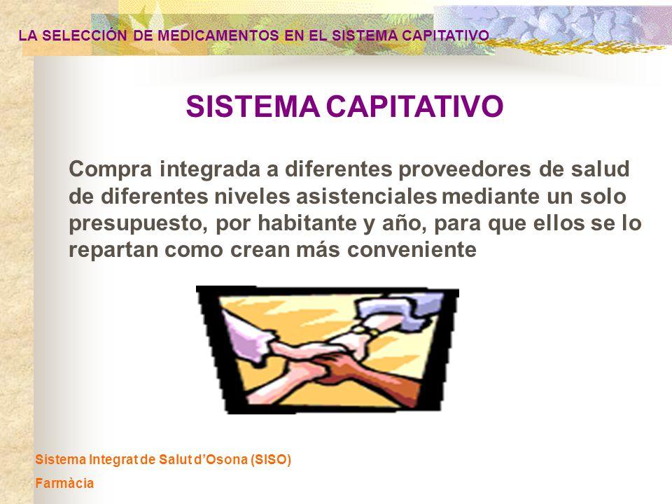 Implantación y seguimiento de la GFT LA SELECCIÓN DE MEDICAMENTOS EN EL SISTEMA CAPITATIVO Sistema Integrat de Salut dOsona (SISO) Farmàcia difusión a todos los profesionales: en el portal informático del SISO definición de indicadores de seguimiento de las recomendaciones de la GFT (AP y AE) - nivel individual: médico - nivel grupal: global SISO, entidad, unidad productiva Cuaderno de mando farmacia