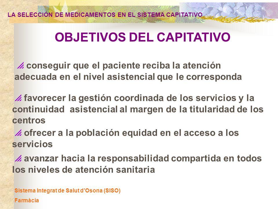 LA SELECCIÓN DE MEDICAMENTOS EN EL SISTEMA CAPITATIVO Sistema Integrat de Salut dOsona (SISO) Farmàcia Indicadores centrados en el fármaco 1) Generales - coste por habitante - coste por receta - % de especialidades con valor intrínseco - % de novedades terapéuticas sin valor añadido (CANM) - % dEFG