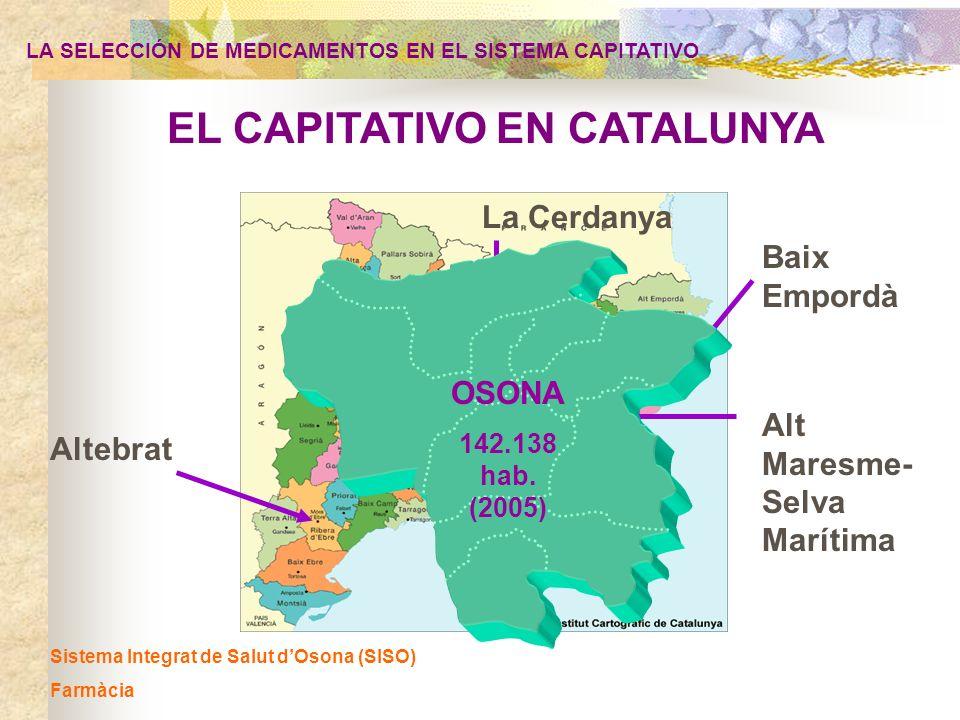 Sistema Integrat de Salut dOsona (SISO) Farmàcia EL CAPITATIVO EN CATALUNYA Altebrat Alt Maresme- Selva Marítima La Cerdanya Baix Empordà OSONA 142.13
