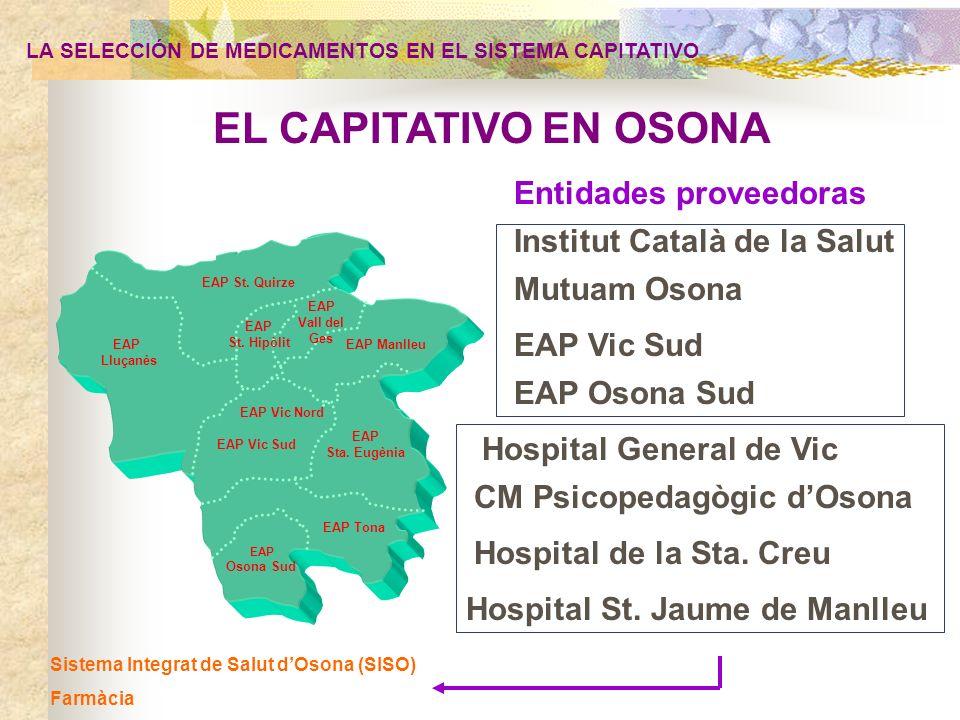 Sistema Integrat de Salut dOsona (SISO) Farmàcia PLAN ESTRATÉGICO DE FARMACIA DEL SISTEMA INTEGRADO DE SALUD DE OSONA (SISO) LA SELECCIÓN DE MEDICAMENTOS EN EL SISTEMA CAPITATIVO EL PORQUÉ DE LA IMPORTANCIA DE LA GESTIÓN DE LA PRESTACIÓN FARMACÉUTICA IMPACTO SOBRE LA SALUD: Importancia del medicamento como agente de la salud y su utilización en un entorno de integración de servicios( seguridad, equidad, buena práctica) IMPACTO ECONÓMICO: la partida presupostaria a riesgo de mayor volumen (Osona: 28 millones, 85% del presupuesto a riesgo y el 28% del total).