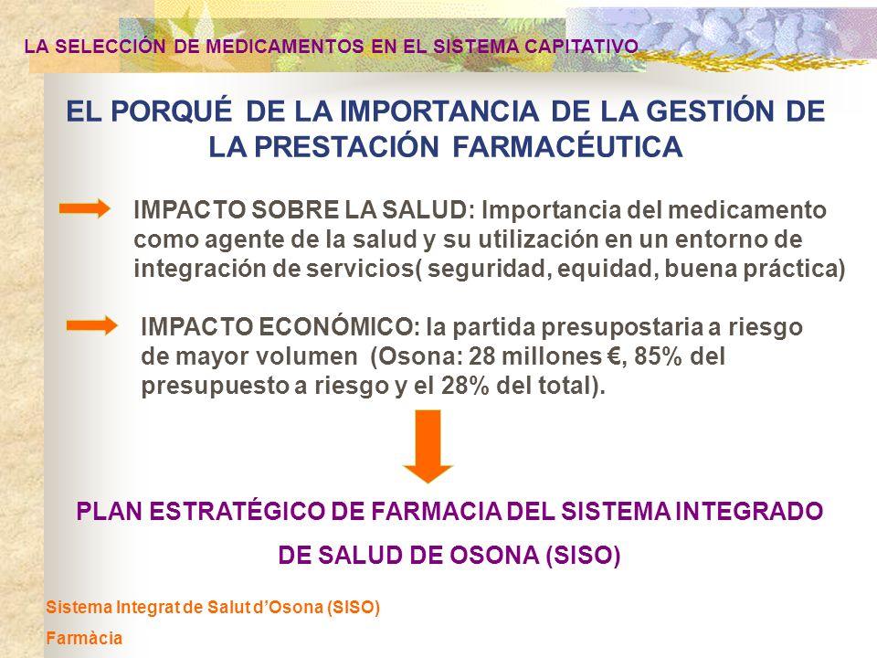 Sistema Integrat de Salut dOsona (SISO) Farmàcia PLAN ESTRATÉGICO DE FARMACIA DEL SISTEMA INTEGRADO DE SALUD DE OSONA (SISO) LA SELECCIÓN DE MEDICAMEN