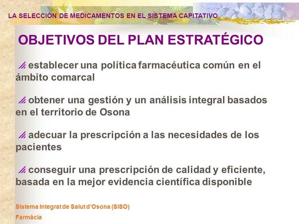 Sistema Integrat de Salut dOsona (SISO) Farmàcia OBJETIVOS DEL PLAN ESTRATÉGICO establecer una política farmacéutica común en el ámbito comarcal obten
