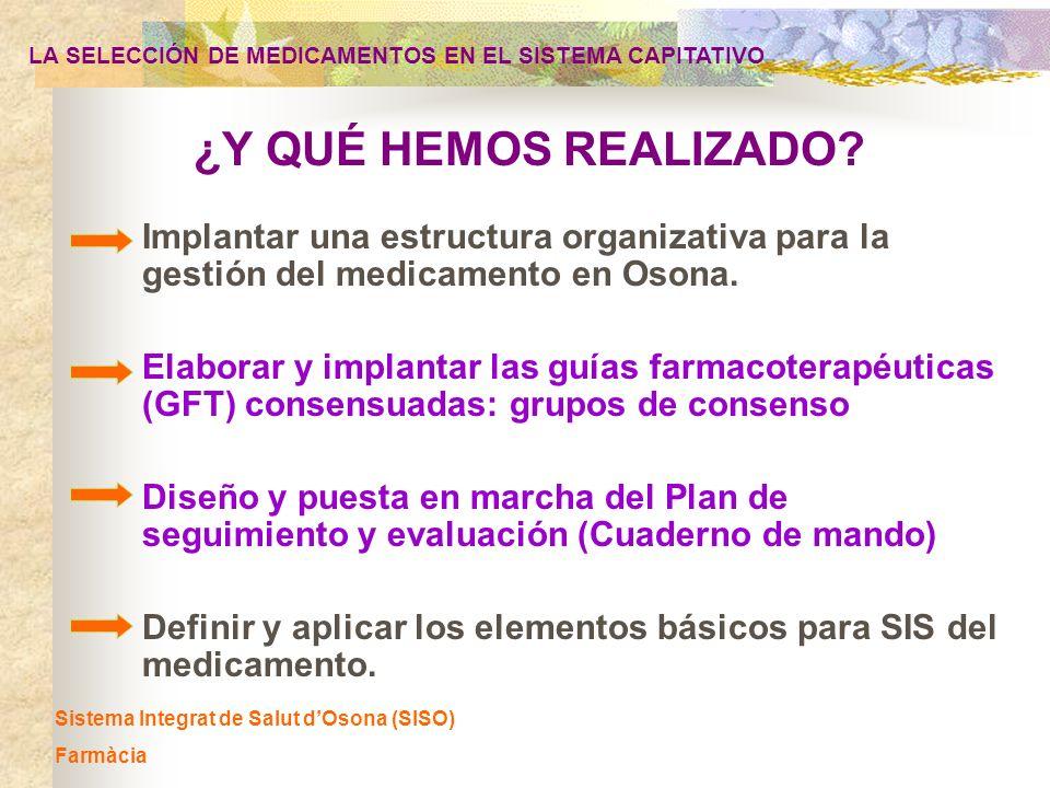 ¿Y QUÉ HEMOS REALIZADO? Sistema Integrat de Salut dOsona (SISO) Farmàcia LA SELECCIÓN DE MEDICAMENTOS EN EL SISTEMA CAPITATIVO Implantar una estructur