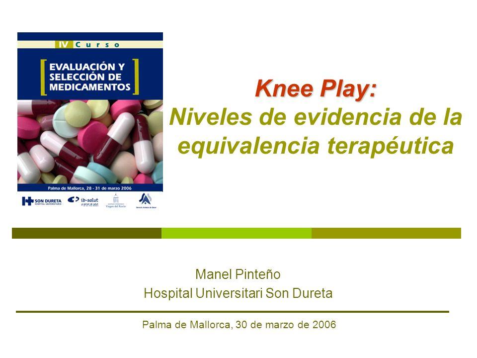 Knee Play: Knee Play: Niveles de evidencia de la equivalencia terapéutica Manel Pinteño Hospital Universitari Son Dureta Palma de Mallorca, 30 de marz