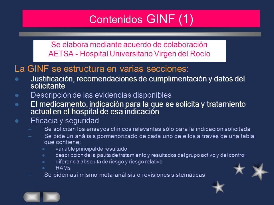 MATERIAL Y METODOS (2) La GINF se estructura en varias secciones: Justificación, recomendaciones de cumplimentación y datos del solicitante Descripció