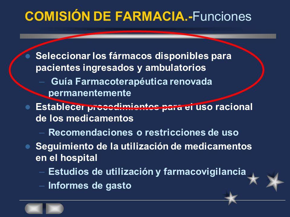 COMISIÓN DE FARMACIA.-Funciones Seleccionar los fármacos disponibles para pacientes ingresados y ambulatorios – Guía Farmacoterapéutica renovada perma